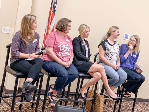 panel of five women at a lakes area professional women's event